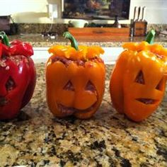 Stuffed bell pepper recipe with a festive twist for Halloween.