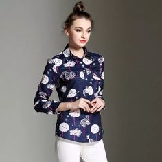 09005adcca1b 2018 Women Ol Casual Shirt Elegant Printing Tops Blouse Turn Down Collar Ladies  Shirts Vintage Slim Long Sleeve Shirts New Fashion Clothes 201 From ...