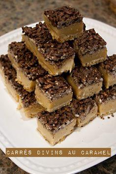 Carrés divins au caramel Pastry Recipes, Cupcake Recipes, Dessert Recipes, Christmas Dishes, Christmas Desserts, Köstliche Desserts, Delicious Desserts, Yummy Cookies, Dessert Bars