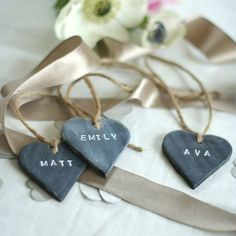 Bespoke Slate Effect Heart Place Name Tag / by dittographic, £3.00