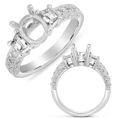 This engagement ring is available in 14K White Gold. There are a total of 32 stones. There are baguette diamonds with a total carat weight of 0.50ct, and there is round diamonds with a total carat weight of 0.41ct. Vintage 3 stone engagement ring. Style # EN7564WG    MSRP $7,248.00  * Center Stone Not Included