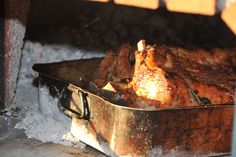 Rack of Pork in an original Italian wood fired Fornino pizza oven
