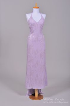1970's Lilac Chiffon Halter Vintage Evening Gown : Mill Crest Vintage