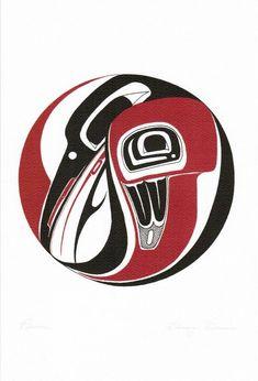 Raven Danny Dennis Art Card Tsimshian Northwest Coast Native No. Haida Tattoo, Raven Tattoo, Arte Tribal, Tribal Art, Native Art, Native American Art, Tatouage Haida, Raven Art, Haida Art