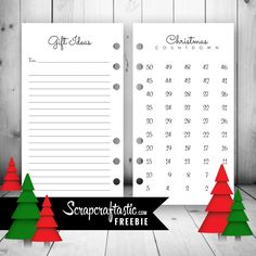 Scrapcraftastic: Christmas Countdown and Gift Ideas Personal Size Printable Planner Inserts