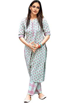 Kurta Designs For Female, Embroidery Designs, Checkered Trousers, Stylish Kurtis, A Line Kurta, Printed Kurti, Printed Cotton, Green Cotton, Types Of Sleeves