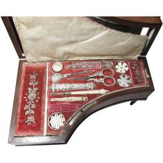 Palais Royal 12 piece ETUI Piano Music Box with Silver Sewing Tools, circa 1830