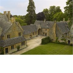 An aerial view of Stanway House from the church tower. Built 1630's.