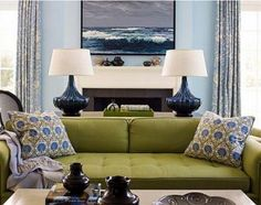 Blue/green - love the lamps