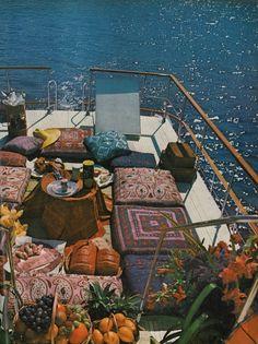 houseboat with killer textiles + floor pillows