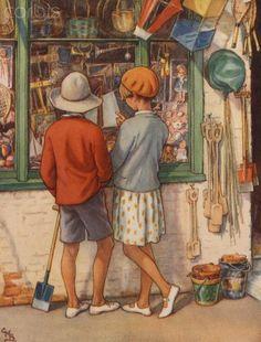 """illustration : Cicely M. Barker, """"The Seaside holydays"""", 1918, boutique de jouets, vacances à la mer"""