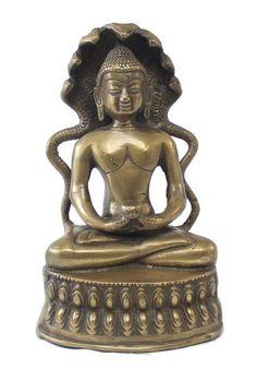 Peaceful Lord Mahavira Brass Statue