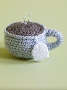 FREE Amigurumi Tea Cup Pincushion (Crochet) from Lion Brand