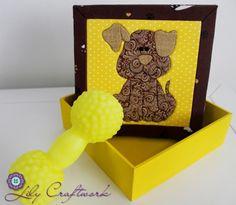 Caixa em MDF (madeira) trabalhada com tecido e patchwork embutido! Cachorro