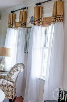 HOW TO UPDATE SHEER CURTAINS. Here's how to take a cheap pair of sheer curtains and make them updated and fabulously stylish!: