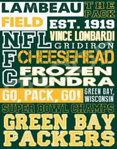 Green Bay Packers Subway Art--Xmas present for brother Packers Baby, Go Packers, Packers Football, Greenbay Packers, Football Baby, Football Season, Green Bay Football, Green Bay Packers Fans, Nfl Green Bay