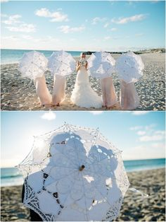 bride, bridesmaids, beach and parasols!  These are pretty pricey, but I like the…