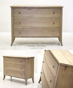 A Pierre Cronje bowfront chest of drawers in French Oak with sabre legs and stainless steel knobs