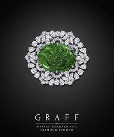 Graff Diamonds: Carved Emerald and Diamond Brooch