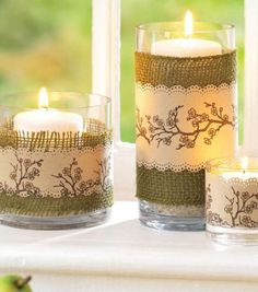 Burlap- wrapped candle holders