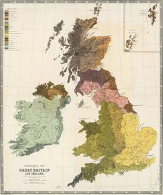 Global Gallery Ethnographic, Great Britain, Ireland, 1856 by Gustaf Kombst Framed Graphic Art on Canvas Size: Stretched Canvas Prints, Framed Art Prints, Framed Artwork, Wall Art, Wall Decor, Map Of Great Britain, Britain Map, British Isles, Custom Framing
