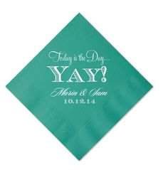 Personalized Today is the Day Wedding Napkins  by GraciousBridal, $36.00
