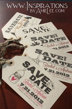 luggage tag save the dates wedding by InspirationsbyAmieLe on Etsy, $50.00