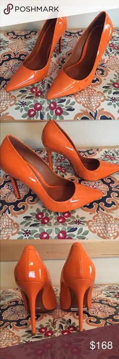 "NWT Schutz patent leather heels NWT Schutz Verniz Naranja. Orange patent leather. 4.5"" heels. Never worn!! Sz. 8B (brand runs approximately 1/2 size small). Disclaimer - Last photo shows a few red spots, assuming will come off with cleaning or at shoe cobbler. SCHUTZ Shoes Heels"