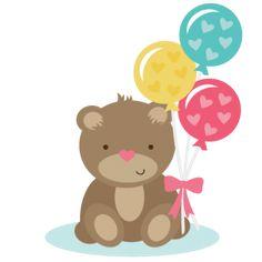 Bear Holding Balloons SVG files for scrapbooking cardmaking cute svg cuts free svgs free svg cuts