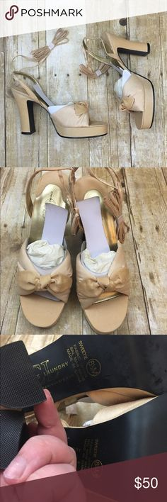 "Chinese laundry sweetie shantung shoes New in box - laces can wrap up or around ankles , fabric material creamy yellow color 1"" platform 4"" heel Chinese Laundry Shoes Heels"