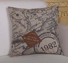 #807  Creative carton linen material nautical chart printed cushion cover pillow case free shipping   wholesale 1pcs/lot-in Cushion from Hom...