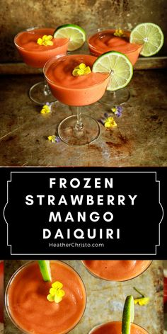 A staycation in a glass! Summer Cocktails, Cocktail Drinks, Cocktail Recipes, Mango Daiquiri, The Best Damn Thing, Alcohol Drink Recipes, Thirsty Thursday, Frozen Strawberries, Fresh Lime