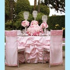 Romantic Gathered Blush Table Skirt by www.BellaAngelEventDecor.com