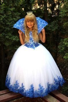 White Blue Flower Girls Dress Birthday Wedding by Butterflydressua