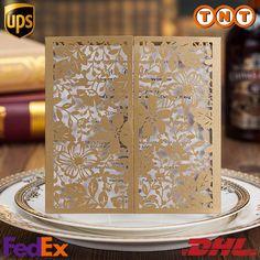 Großhandel Gold Hohle Blumen Hochzeits Einladungen Laser Ausschnitt Einladungs Karte Für Hochzeitsfest Papier Geburtstags Einladung Karten Cw5103 Von Leisurecc, $0.79 Auf De.Dhgate.Com   Dhgate