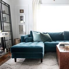 NEW VELVET SECTIONAL + NEW LIVING ROOM LOOK | Hunted Interior