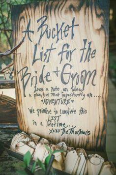 Wedding Bucket List http://www.modwedding.com/2015/02/20/wedding-ideas-unique-alternative-wedding-guestbooks/