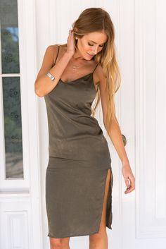 Olive Silky Feel Slip Dress