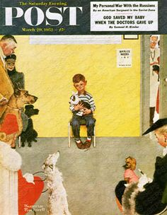 """At the Vets"" Saturday Evening Post Cover, March Giclee Print by Norman Rockwell Norman Rockwell Prints, Norman Rockwell Paintings, Painting Prints, Canvas Prints, Art Prints, Art Paintings, Peintures Norman Rockwell, Dachshund, The Saturdays"