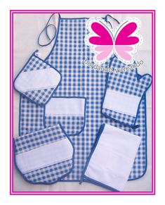 Juego de cocina de cuadritos azules con blanco Kitchen Towels, Sewing Clothes, Kitchen Accessories, Table Runners, Pot Holders, Hand Embroidery, Apron, Coasters, Napkins