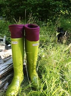magenta boot liners with lime green Hunters