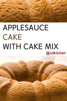 A recipe for Applesauce Cake With Cake Mix made with yellow cake mix, eggs. Recipe Directions: Preheat the oven to 350 degrees F. Grease a tube or Bundt pan. Spice Cake Mix Recipes, Recipes Using Cake Mix, Box Cake Recipes, Cake Mix Desserts, Bundt Cake Recipe Using Cake Mix, Brownies From Cake Mix, Dessert Recipes, Lemon Brownies, Ww Desserts