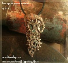Copper Steampunk Pendant with gears - hand beaten copper work by HippieshopAfrica on Etsy Copper Work, Fern, Cuff Bracelets, Steampunk, Pendants, Etsy, Jewelry, Air Fern, Jewlery