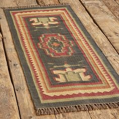 PERSIMMON MEDALLION DHURRIE RUG: View 3