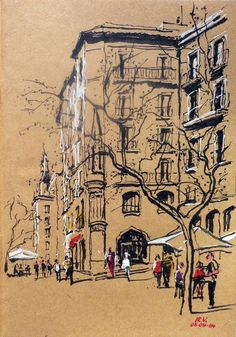 Have I ever mentioned how in love with Urban Sketchers I am? A snippet from U. Urban Sketchers, Art Sketches, Art Drawings, Toned Paper, Art Sketchbook, Travel Sketchbook, Painting & Drawing, Painting Abstract, Acrylic Paintings