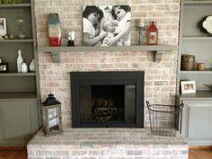 White washing brick and painting brass fireplace surround