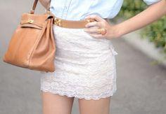 Lace skirt + Brown bag (LOVE THAT BAG)