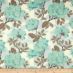 Joel Dewberry Birch Farm Home Decor Sateen Hydrangea EggBlue from @fabricdotcom  Screen printed on cotton sateen; this medium weight fabric is very versatile. This fabric is perfect for window treatments (draperies, valances, curtains, and swags), bed skirts, duvet covers, pillow shams, accent pillows, tote bags, aprons, slipcovers and upholstery. Colors include taupe, teal, aqua, black and ivory.