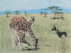 Life On The Plains by Jeanne Fischer #giraffes #landscape