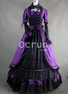 Purple und Schwarz Gothic viktorianischen Kleid mit Spitze Dekoration